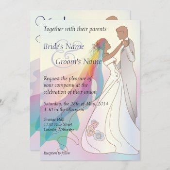 rainbow non-white bride & groom wedding invite 1b
