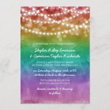 rainbow ombre string lights gay wedding invitation