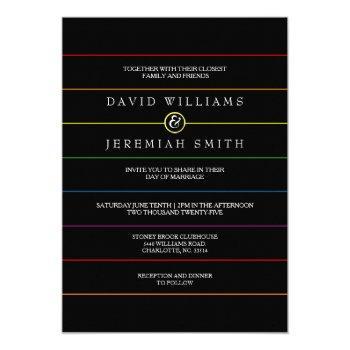 rainbow pinstripe pride on black lgbt wedding invitation
