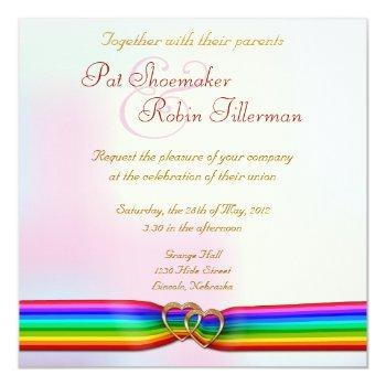 rainbow ribbon double hearts wedding invitation 2