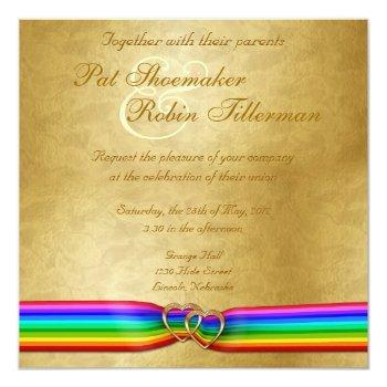 rainbow ribbon double hearts wedding invitation 6