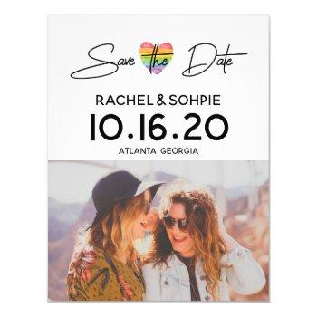 rainbow save the date invitation
