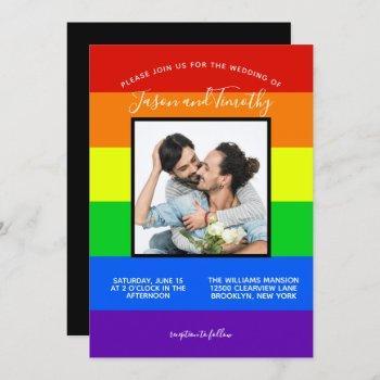 rainbow striped lgbtq couple photo gay wedding invitation