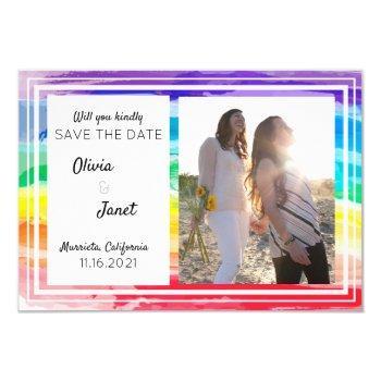 rainbow watercolors wedding save the date photo invitation