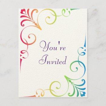 rainbow wedding swirl invitation