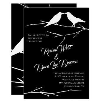ravens on black sky gothic wedding invitations