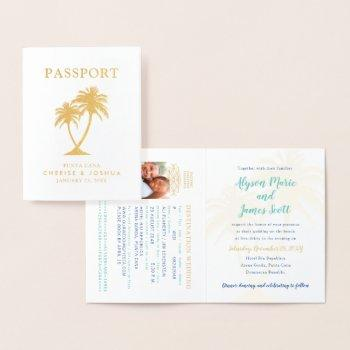 real foil palm tree passport wedding invitation