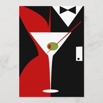 red and black classy martini cocktail invitation