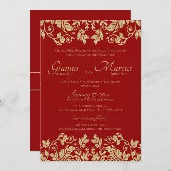 red and gold damask emblem wedding invitation