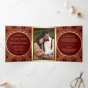 red and gold ethnic mandala indian wedding tri-fold invitation