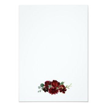 Small Red And Gold Floral Rustic Elegant White Wedding Invitation Back View