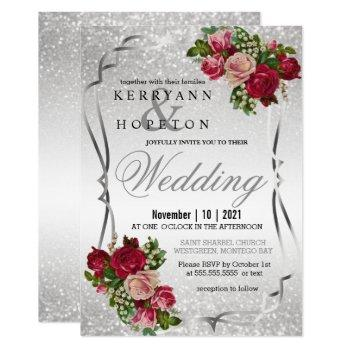 red and pink flowers with silver glitter invitation