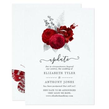 red and silver vintage rose wedding update invitation