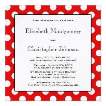 red and white polka dot wedding invitation