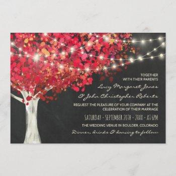 red autumn tree & string lights wedding invitation
