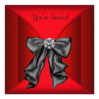 red black black tie party invitation