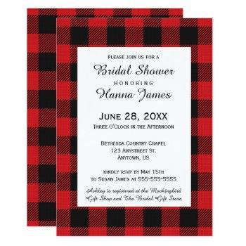 red black buffalo plaid wedding invitation