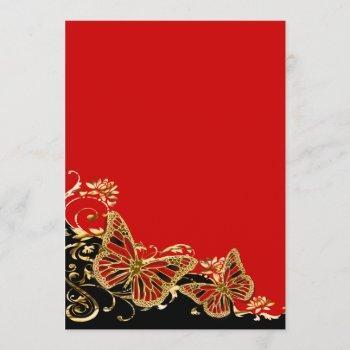 red black gold wedding reception invitation