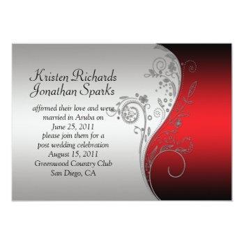 red black silver floral swirls post wedding invitation