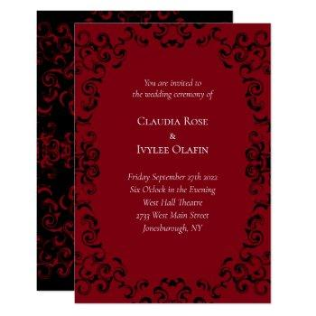 red & black swirl gothic wedding invitations