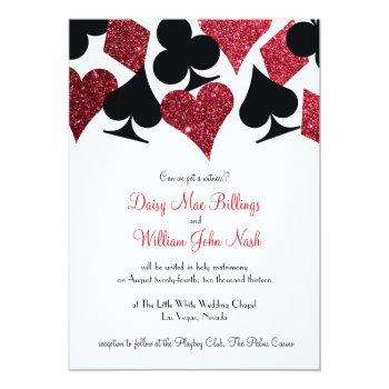 Small Red Faux Glitter Las Vegas Wedding Invitation Front View