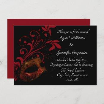 red floral masquerade wedding invitation