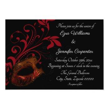 Small Red Floral Masquerade Wedding Invitation Front View