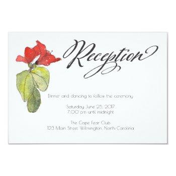 red flowers calligraphy script wedding reception invitation