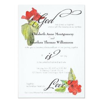 red flowers god is love religious wedding invitation