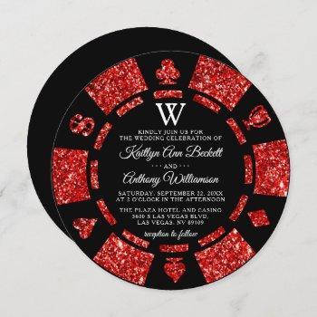red glitter monogram poker chip casino wedding invitation