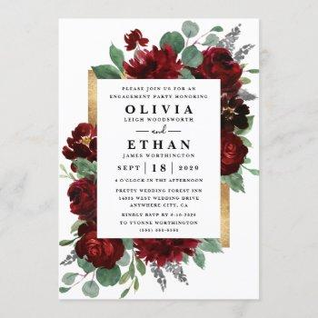 red gold floral rustic elegant engagement party invitation