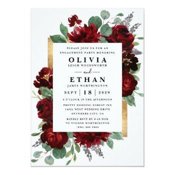 Small Red Gold Floral Rustic Elegant Engagement Party Invitation Front View