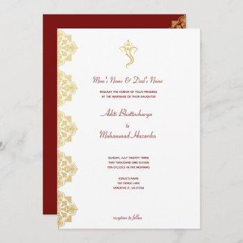 red & gold ganesha and mehndi indian wedding invitation