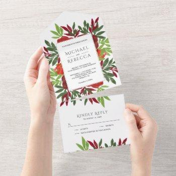 red green watercolor floral leaves garden wedding all in one invitation