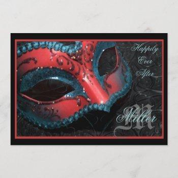 red masquerade renaissance wedding invitation