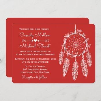 red native american dream catcher boho wedding invitation
