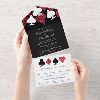 red on black faux glitter las vegas wedding all in one invitation