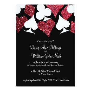Small Red On Black Faux Glitter Las Vegas Wedding Invitation Front View