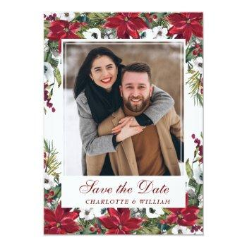 Small Red Poinsettia Christmas Wedding Save The Date Invitation Front View