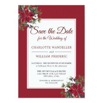 Small Red Poinsettia Christmas Wedding Save The Date Invitation Back View