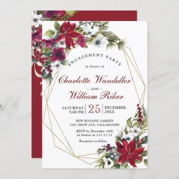 red poinsettia floral christmas  engagement party invitation