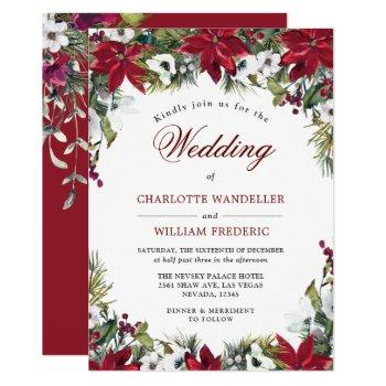 red poinsettia floral christmas watercolor wedding invitation