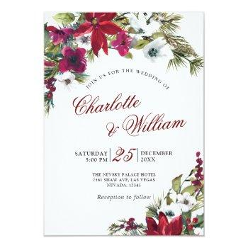 Small Red Poinsettia Floral Christmas Watercolor Wedding Invitation Front View