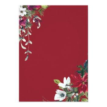 Small Red Poinsettia Floral Christmas Watercolor Wedding Invitation Back View