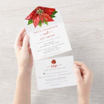 red poinsettia guest addresses christmas wedding all in one invitation