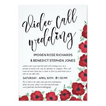 Small Red Poppies Video Call Wedding Invitation Front View