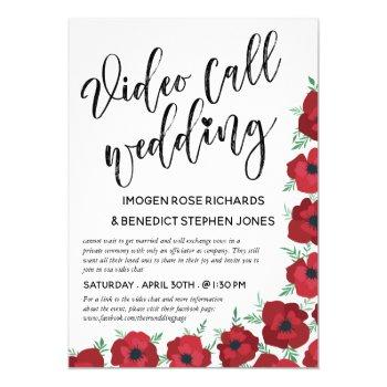 red poppies video call wedding invitation
