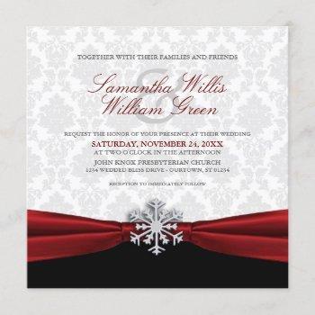 red ribbon winter wedding invitation