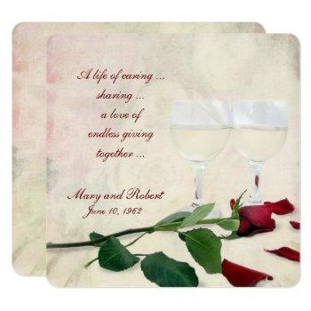 red rose and wine vow renewal invitation
