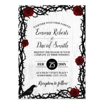 red rose & thorn frame rustic fairytale wedding invitation